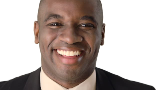 vídeos y material grabado en eventos de stock de close up of smiling african-american businessman - vestimenta de negocios formal