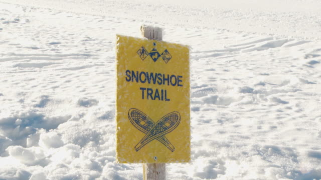 close up of snowshoe trail sign / blaine county, idaho, united states - idaho stock videos & royalty-free footage