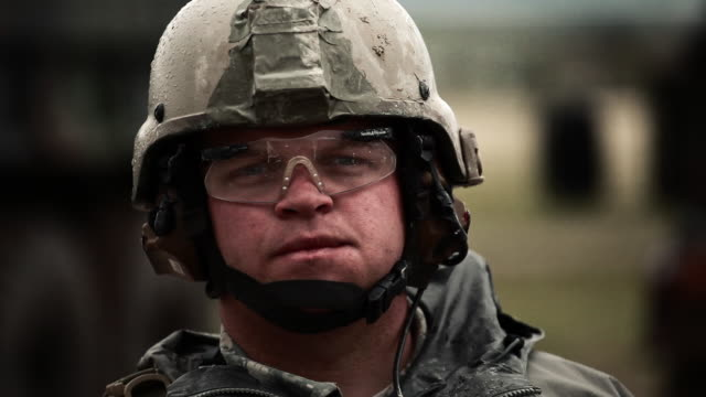 Close up of soldier nodding