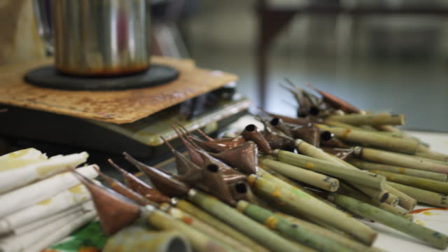 close up of some hand tools used for making batik - batik stock videos & royalty-free footage