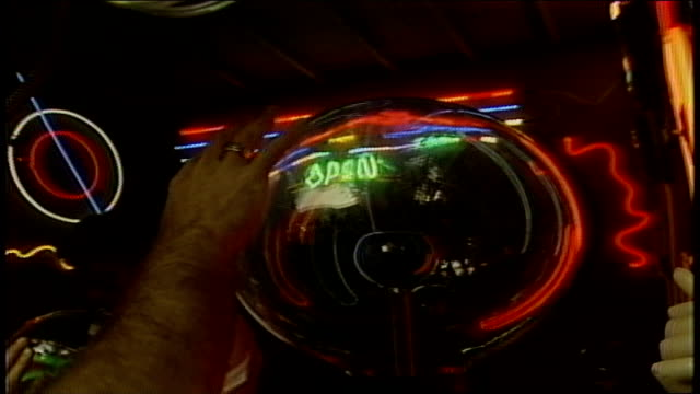 close up of someone touching a plasma bowl - anno 1987 video stock e b–roll