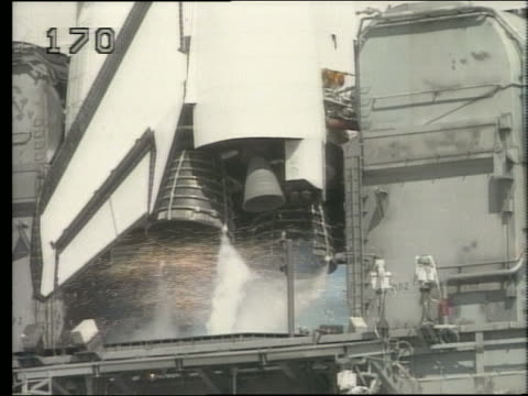 close up of space shuttle discovery engines igniting - discovery stock videos & royalty-free footage