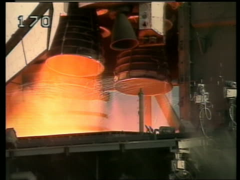 close up of Space Shuttle engines igniting