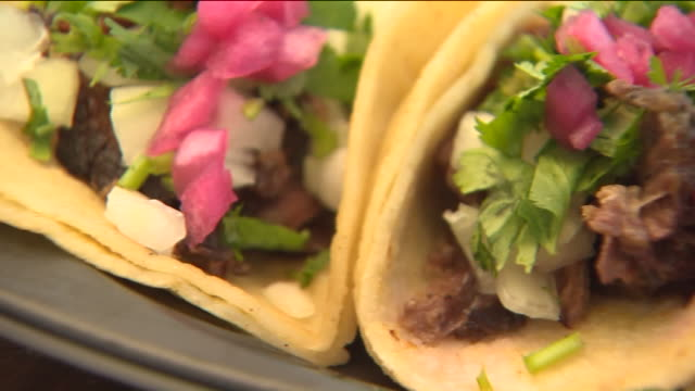 ktla close up of tacos on plate - taco stock videos & royalty-free footage