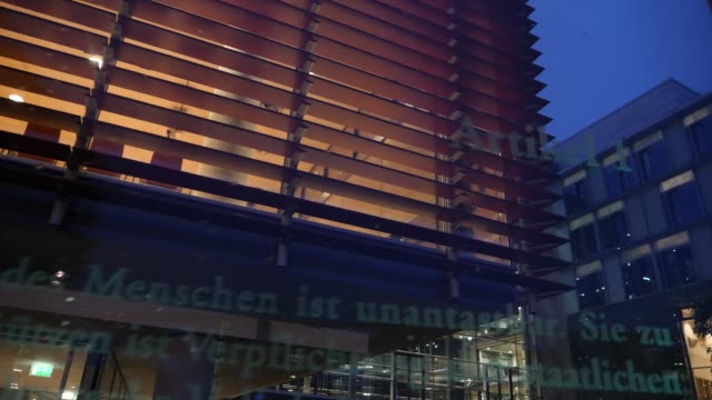close up of the article 1 of the grundgesetz . next to the courtyard of the jakob-kaiser-haus are 19 approximately 3-meter-high glass panes of the... - article stock videos & royalty-free footage