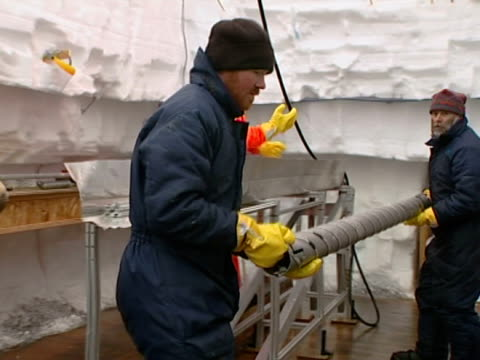 close up of the ice core drill cables, berkner island in the filchner-ronne ice shelf, antarctica. - drill stock videos & royalty-free footage