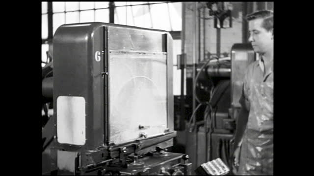 close up of the inner mechanics of crystals being shaped and cut; factory floor full of crystal grinding machines and workers operating them - 1940 1949 stock videos & royalty-free footage