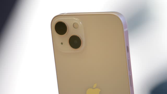 close up of the iphone 13 with its diagonal mounted cameras at the apple launch the new iphone 13 range and ipad mini in the apple store on september... - handheld stock videos & royalty-free footage