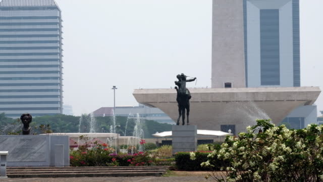 close up of the national monument in jakarta, indonesia - java stock videos & royalty-free footage