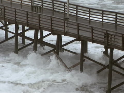 close up of the pier as the waves crash underneath it hitting to bottom of it. hurricane irene of 2011 was an atlantic hurricane that left extensive... - north carolina us state stock videos & royalty-free footage