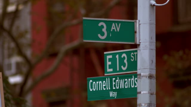 stockvideo's en b-roll-footage met close up of the sign for the intersection of 3rd avenue and east 13th street in manhattan, new york city - straatnaambord
