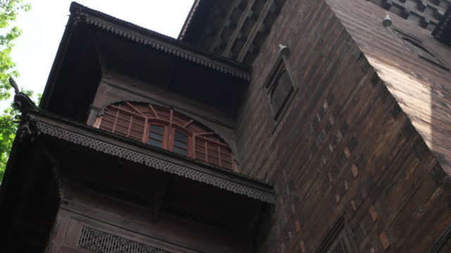 Close up of the structure and facade view of the Shah-I-Hamdan Mosque, an architectural marvel of the Kashmir valley