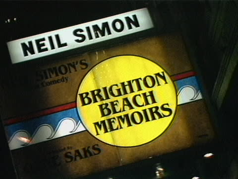 close up of the theatre marquee for brighton beach memoirs. - ニール サイモン点の映像素材/bロール