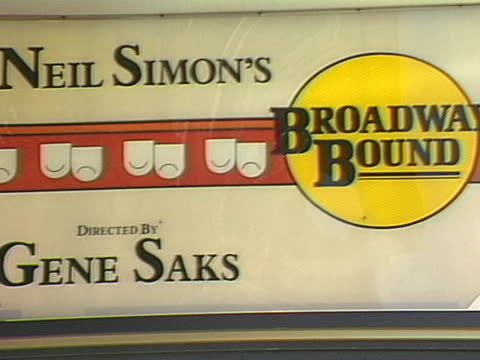 close up of the theatre marquis for broadway bound - ニール サイモン点の映像素材/bロール