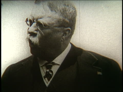B/W close up of Theodore Roosevelt making speech