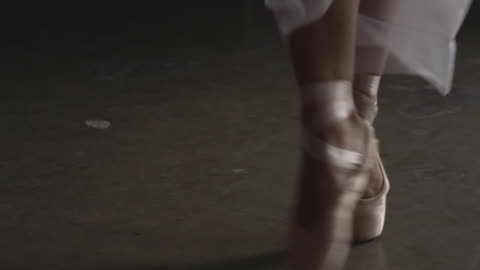 close up of three ballerina's point shoes performing deboulã© - ballet dancing stock videos & royalty-free footage