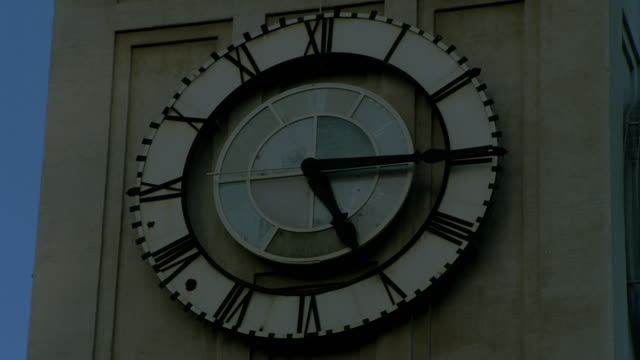 close up of time lapse clock and shadows on Port of San Francisco bldg