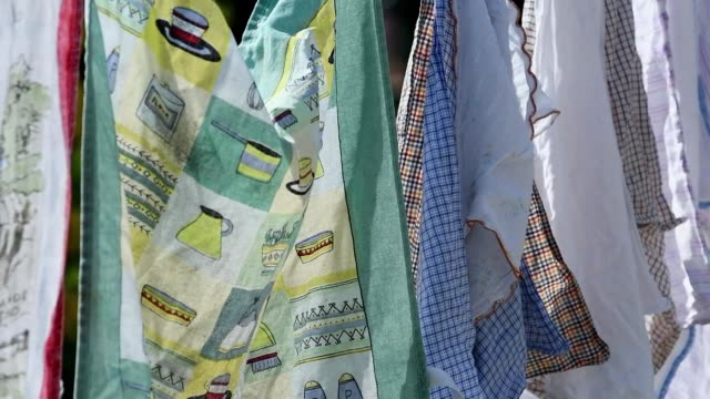 close up of towels washing line at the garden - dishcloth stock videos & royalty-free footage