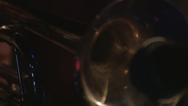 close up of trumpet horn, slow motion - brass instrument stock videos & royalty-free footage