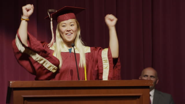 stockvideo's en b-roll-footage met close up of valedictorian making graduation speech / mapleton, utah, united states - toneel