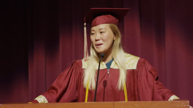 close up of valedictorian making graduation speech / mapleton, utah, united states - speech stock videos & royalty-free footage
