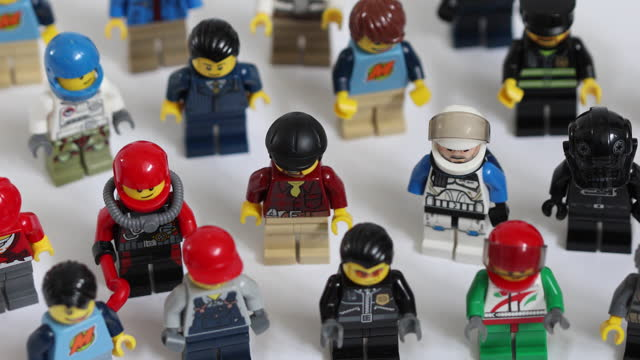 close up of various lego figurines arranged in studio, in danbury, essex, england, u.k., on friday, march 5, 2021. - extreme close up stock videos & royalty-free footage