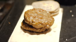 Close up of vegetarian burger preparation . Healthy food.