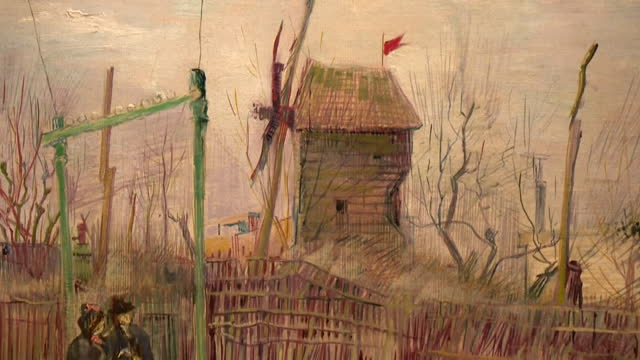 close up of vincent van gogh painting, street scene in montmartre, on display in sotheby's auction house in paris, before its sale - painted image stock videos & royalty-free footage