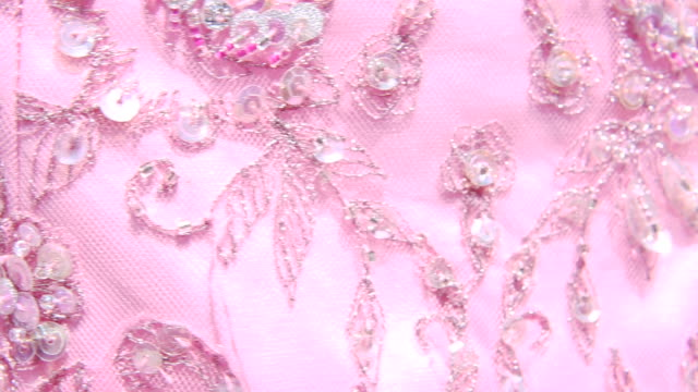 Close Up of Vintage Pink Cocktail Dress in Sunlight