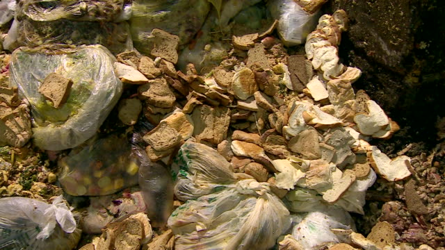 Close up of waste bread waiting to be reprocessed