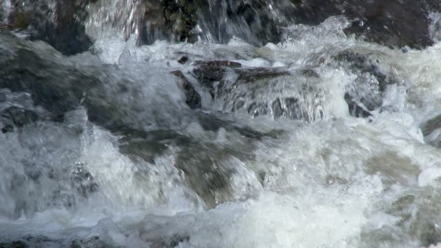 Close up of water from a Scottish river flowing over rocks