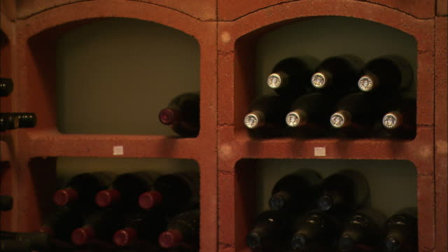 Close up of wine in racks, Northern Ireland