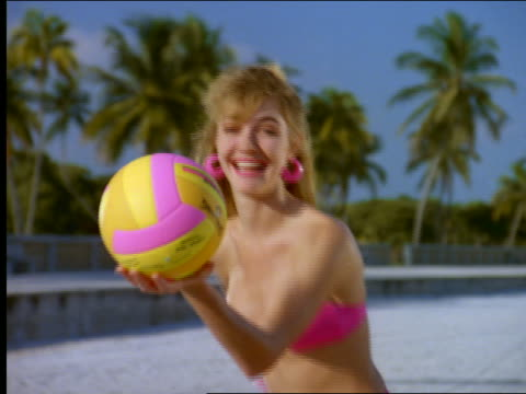 close up of woman in bikini serving volleyball - beach volleyball stock videos & royalty-free footage