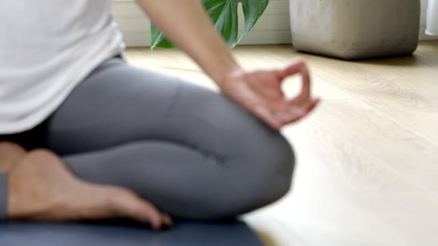 close up of woman meditation at home - mudra stock videos & royalty-free footage
