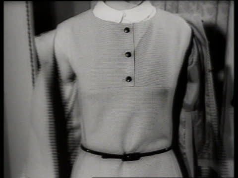 B/W close up of woman modeling jacket and dress / SOUND