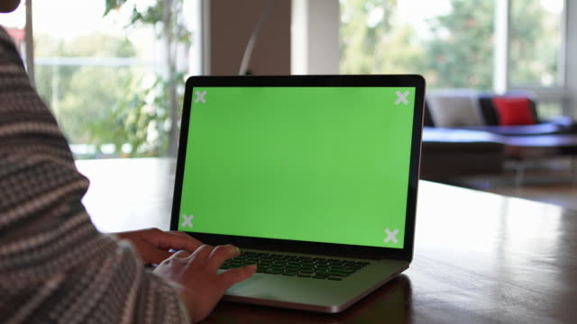 close up of woman typing on green screen laptop - chroma key stock videos & royalty-free footage