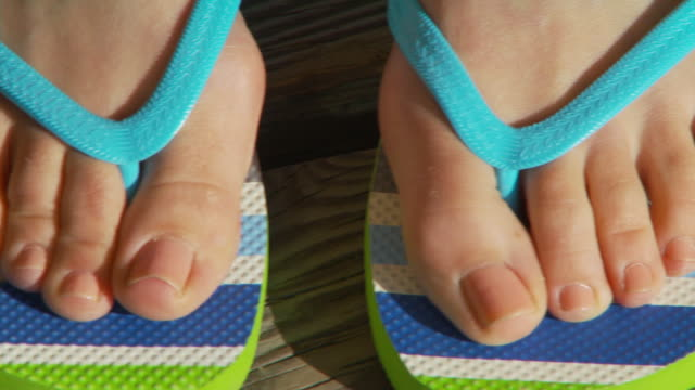 close up of women's feet in sandals - toe stock videos & royalty-free footage