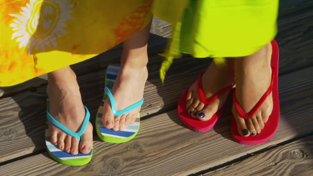 close up of women's feet in sandals - sandal stock videos and b-roll footage