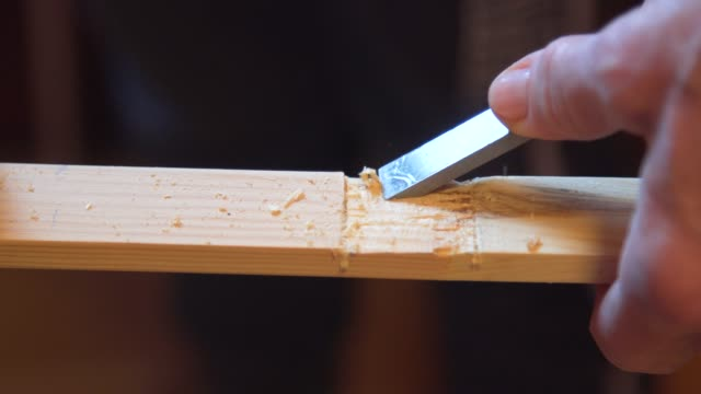 close up of wood carving with chisel - chisel stock videos and b-roll footage