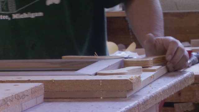 Close up of woodworker's hands