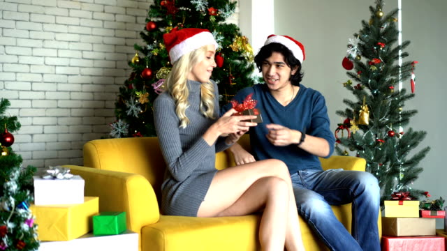 close up of yound male surprise his girlfriend by giving a gift and hugging togetherness in christmas day - tree hugging stock videos & royalty-free footage
