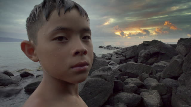 Close Up of Young Boy at the Beach
