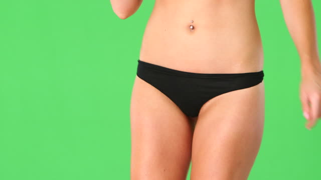 close up of young woman with black underwear - belly button stock videos and b-roll footage