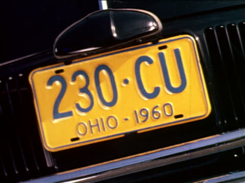 1965 close up ohio license plate on car / industrial - number plate stock videos & royalty-free footage