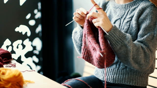 close up on woman's hands knitting - jumper stock videos & royalty-free footage