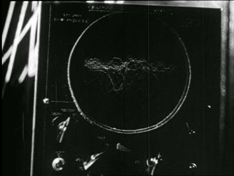 b/w 1938 close up oscillograph on radio studio control panel / newsreel - radio studio stock videos & royalty-free footage