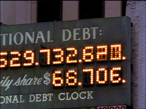 close up our national debt sign / new york city - statsskuldklockan bildbanksvideor och videomaterial från bakom kulisserna