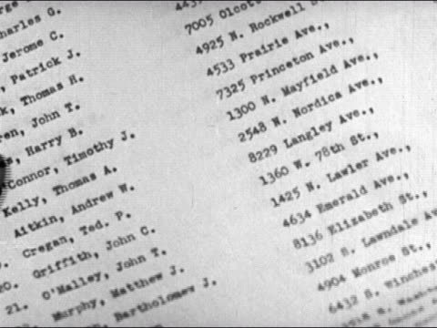 1947 close up pages containing names and addresses turning/ dearborn, michigan - zusammenstellung stock-videos und b-roll-filmmaterial