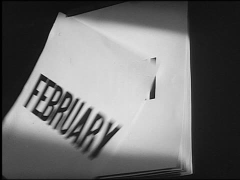 b/w close up pages with names of months ripping off wall calendar - month stock videos & royalty-free footage