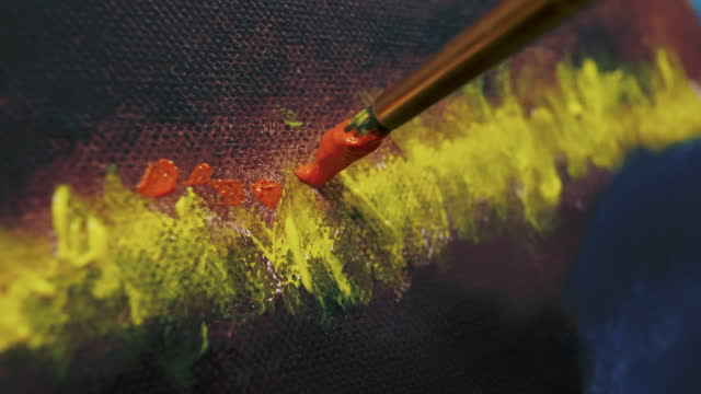 close up painting at home studio - paintbrush stock videos & royalty-free footage